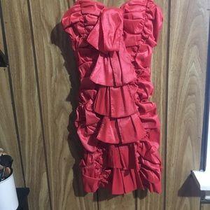Coral color short dress